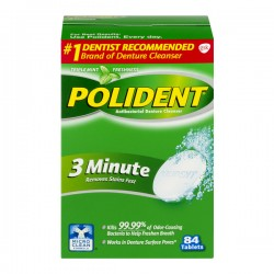 Polident 3 Minute Antibacterial Denture Cleanser Triple Mint Tablets