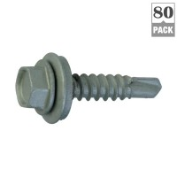 Teks #12 x 1 in. Hex-Washer-Head Drill Point Roofing Screw (80-Pack)