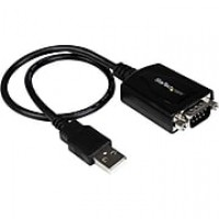 StarTech 1' DB-9 Male Serial To Type A Female USB Adapter Cable With COM Retention, Black