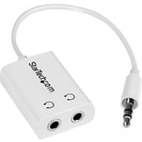 "Startech® 6"" 3.5mm Male To 2x 3.5mm Female Mini Jack Headphone Splitter Cable Adapter, White"
