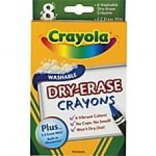 Crayola® Washable Dry-Erase Crayons, Assorted, 8/Pack