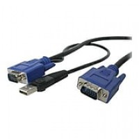 StarTech 15' 2-In-1 Ultra Thin USB & VGA KVM Switch Cable, Black