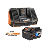 RIDGID 18-Volt OCTANE 9.0 Ah Lithium-Ion Battery Starter Kit with Charger