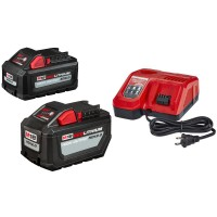 Milwaukee M18 18-Volt Lithium-Ion High Output Battery Pack 12.0 Ah and Rapid Charger Starter Kit With Free 6.0 Ah Battery