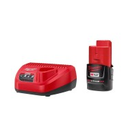 Milwaukee M12 12-Volt Lithium-Ion Compact Battery Pack 2.0Ah and Charger Starter Kit