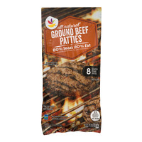 Stop & Shop Ground Beef Patties 80% Lean All Natural - 8 ct Frozen