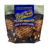 Ball Park Beef Patty Flame Grilled Beef & Onion Fully Cooked - 6 ct Frozen