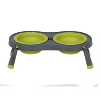 Dexas Green & Grey Collapsible Pet Feeder , Large