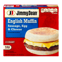 Jimmy Dean English Muffin Sandwiches Sausage, Egg & Cheese - 4 ct