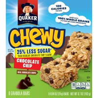 Quaker Chewy Chocolate Chip Granola Bars 25% Less Sugar - 8 ct