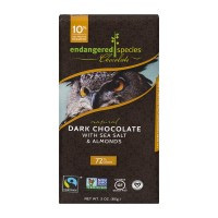 Endangered Species Dark Chocolate w/Sea Salt & Almonds 72% Cocoa Natural