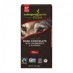 Endangered Species Dark Chocolate w/Cranberries/Almonds 72% Cocoa Natural