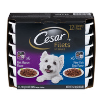 Cesar Filets in Sauce Dog Food Variety Pack NY Strip & Filet Mignon - 12pk