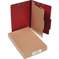 "ACCO Pressboard Classification Folder with Fasteners, 4 Parts, Earth Red, Legal size Holds 8 1/2"" x 14"" Sheets, 10/Pack"