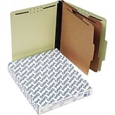 "Pendaflex Pressboard Classification Top Tab Folders, 2 Partitions/6 Fasteners, Light Green, Letter Size, Holds 8 1/2"" x 11"""