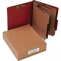 "ACCO Pressboard Classification Folder with Permclip Fasteners, 8 Parts, Earth Red, Letter, Holds 8 1/2"" x 11"" Sheets, 10/Pack"