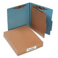 ACCO Pressboard 4-Part Classification Folders, Letter Size, Blue, Box of 10