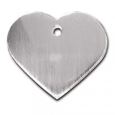 Quick-Tag Large Brushed Chrome Heart Personalized Engraved Pet ID Tag