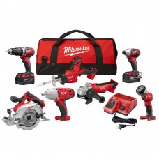 Milwaukee M18 18-Volt Lithium-Ion Cordless Combo Kit (7-Tool) with Two 3.0Ah Batteries, 1 Charger, 1 Tool Bag