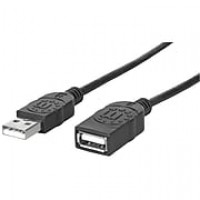 Manhattan® 10' Hi-Speed USB 2.0 Male/Female Extension Cable, Black