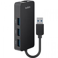 Belkin ™ USB 3.0 Hub with Gigabit Ethernet Adapter, Black (B2B128TT)