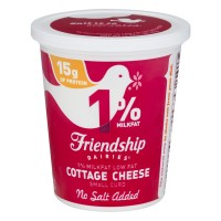 Friendship Dairies Cottage Cheese Small Curd 1% Low Fat No Salt Added