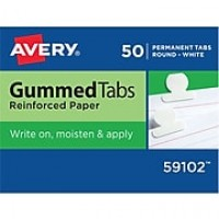 "Avery® Round Gummed Index Tabs, 1/2"" Extension, White"