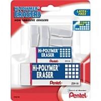 Pentel® Hi-Polymer® Eraser, White Erasers, Assorted Sizes, 6/Pack