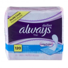 Always Dailies Liners Thin Regular Unscented Double Pack