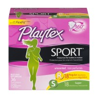 Playtex Sport Tampons Multi-Pack 18 Regular & 18 Super Plastic Unscented