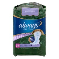 Always Pads Overnight Ultra Thin Extra Heavy Flow with Flexi-Wings