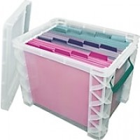 "Advantus Super Stacker File Box, Clear, 11.25"" H x 10.5"" W x 14.5"" L"