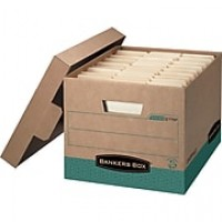 Bankers Box R-Kive Heavy-Duty FastFold 100% Recycled Storage Boxes with Lift-Off Lid, Letter/Legal, 12/Ct (12775)