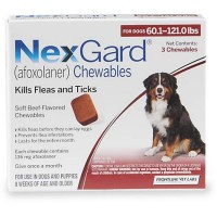 NexGard Chewables - Orange for Dogs 60.1 to 121 lbs., 3 Pack