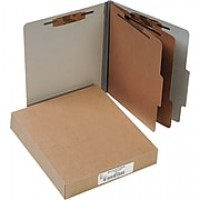 "ACCO Pressboard Classification Folder 6 Parts, Mist Gray, Letter size Holds 8 1/2"" x 11"", 10/Pk"