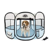 PETMAKER Portable Pop Up Pet Play Pen-Blue, Medium