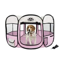 PETMAKER Portable Pop Up Pet Play Pen-Pink, Medium