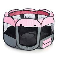 Pet Life All Terrain Lightweight Easy Folding Wire Framed Collapsible Travel Pet Playpen Pink And Grey, Large