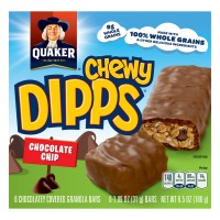 Quaker Chewy Dipps Granola Bars Chocolate Chip 100% Whole Grains - 6 ct
