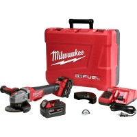 Milwaukee M18 FUEL 18-Volt Lithium-Ion Brushless Cordless 4-1/2 in./5 in. Braking Grinder Kit W/(2) 5.0Ah Batteries & Hard Case