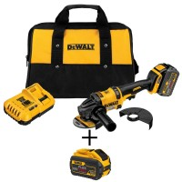 DEWALT FLEXVOLT 60-Volt MAX Lithium-Ion Cordless Brushless 4-1/2 in. Angle Grinder with Battery, Charger, Bag and Bonus Battery