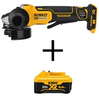 DEWALT 20-Volt MAX XR Lithium-Ion Cordless Brushless 4-1/2 in. Paddle Switch Small Angle Grinder w/ Bonus Battery Pack 6.0 Ah