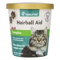 NaturVet Cat Hairball Aid Supplement, Pack of 100 Soft Chews