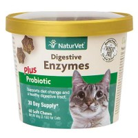 NaturVet Digestive Enzymes Cat Supplement, Pack of 60 Soft Chews