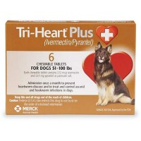 Tri-Heart Plus Chewable Tablets for Dogs 51 to 100 lbs., 6 Pack