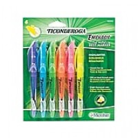 Ticonderoga Emphasis Stick Highlighters, Chisel, Assorted, 6/Set (48008)