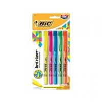 BIC Brite Liner Stick Highlighters, Chisel, Assorted, 5/Pack (BLP51W-AST)