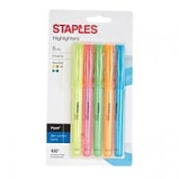 Staples® Hype® Pen-Style Highlighters, Chisel, Assorted 5PK (29349)