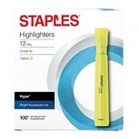 Staples® Hype® Tank Highlighters, Chisel, Yellow, 12/PK (29203)