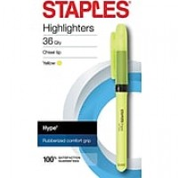 Staples® Hype® Gripped Pen-Style Highlighters, Chisel, Yellow, 36/Pk (50374)